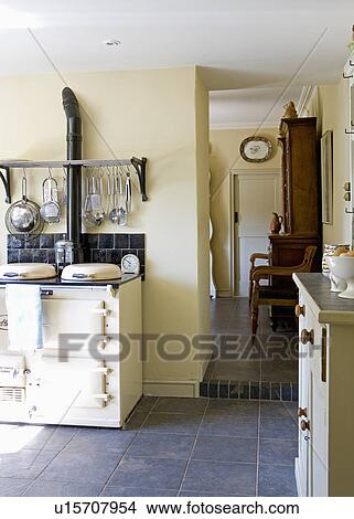 Stock Photo Of Slate Flooring In Country Kitchen With Cream Aga
