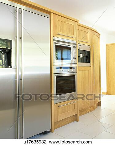 Stainless Steel American Style Fridge Freezer And Double Oven In Modern Kitchen