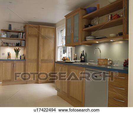 Stainless Steel Dishwasher In Light Oak