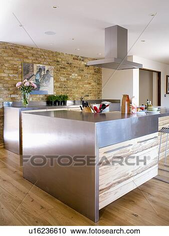 Stainless Steel Island Unit In Modern Country Kitchen Extension