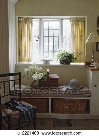 Curtains Ideas curtains for window seat : Pictures of Cream curtains on window above window-seat with fitted ...
