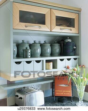 Archivio Fotografico - primo piano, di, verde, ceramica, vasi ...