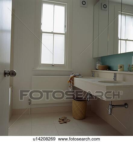 Stock Photograph Of Underset Basin In Vanity Unit Modern Bathroom