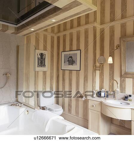 Stock Photography   Striped Wallpaper In Neutral Bathroom. Fotosearch    Search Stock Photos, Pictures