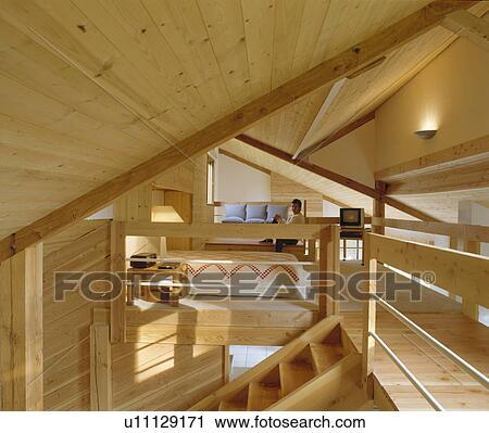 Stock Fotografie   Tongue+groove, Täfelung, In, Dachgeschoss, Bekehrung,  Mit, Schalfzimmer, Und, Wohnzimmer