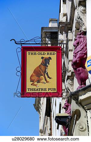 England, London, Islington  The Old Red Lion Theatre Pub sign projected  from the front of the building in St John Street  Stock Image