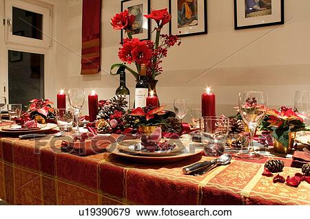 England London Kensington A Table Laid For Christmas Dinner At Home