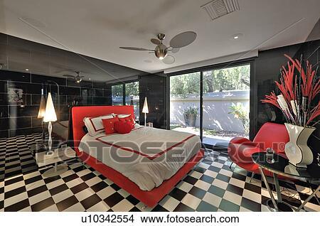 Chambre à coucher, à, vérifié, modèle, dans, moderne, manoir Image