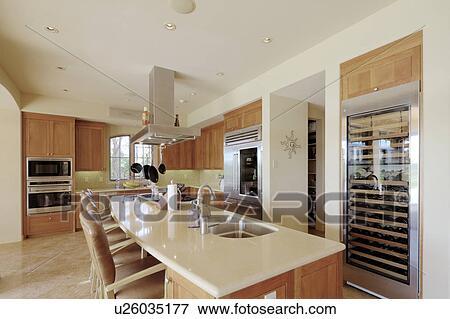 Contemporain, cuisine, intérieur, de, luxe, foyer manoir Banque de Photo