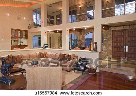 Habiter moderne, salle, conception intérieur, de, foyer manoir Image
