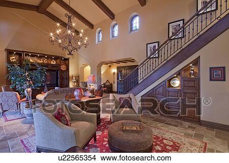 스톡 포토 - 현대, 실내 디자인, 의, 거실, 에서, 사치, 대저택 ...
