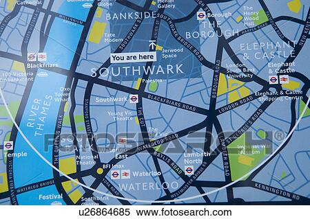 Stock Image Of England London Southwark A Public Street Map In