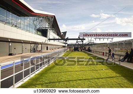 England, Northamptonshire, Silverstone., Dass, Neu, Flügel, Gebäude, Grube,  Gasse, Und, Garagen, An, Silverstone, Motorrennsport, Circuit.