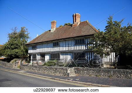 England, Kent, Margate  Frontage of a tudor house which is the oldest house  in Margate  Stock Photo