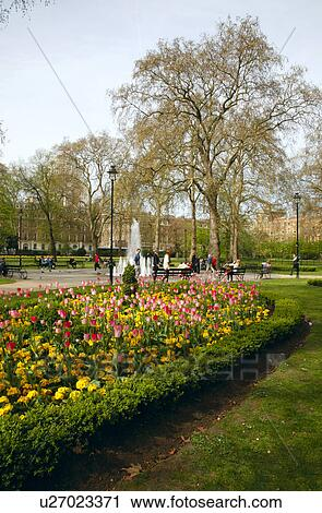 Stock Photography Of England London Russell Square Flower Bed Of