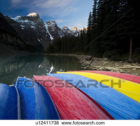 Canadian Canoes on Moraine Lake | Stock Photo