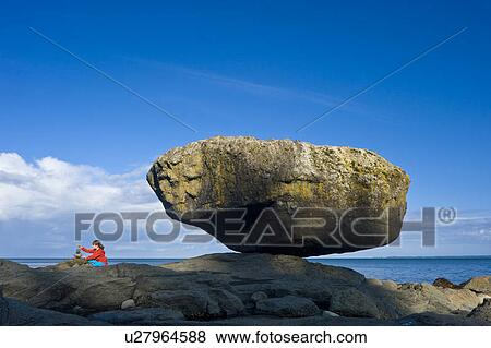 Child Balancing Rocks On Beach Balance Rock Graham Island Queen