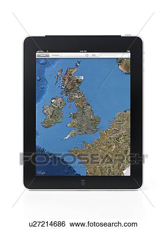 Apple Ipad 3g Tablet With Google Maps Displaying United Kingdom