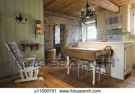 Anticaglia, tavola, sedie, e, arredamento, cucina, di, un, vecchio,  canadiana, (1722), cottage, stile, fieldstone, e, legno, parteggiare, ...