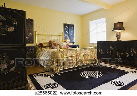 Stockfoto - beherske, soveværelse, hos, messing, seng, kinesisk ...