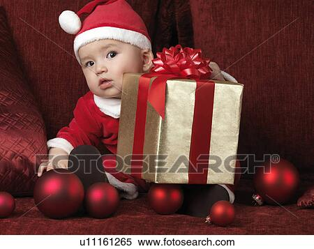Stock Image Of Six Month Old Baby Boy In Santa Costume With A