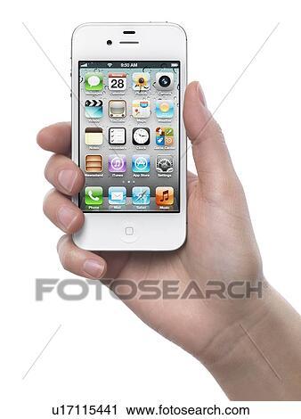 Donna Mano Con Uno Bianco Mela Iphone 4s Smartphone