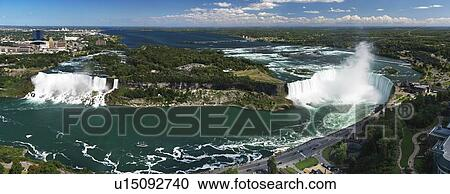 Panoramic Aerial View On Niagara Falls From Canada Side With American Falls On The Left And Canadian Horseshoe On The Right Ontario Canada And New York State United States Of America Stock