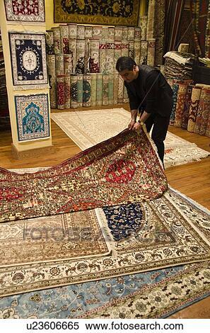 Turkish Carpet Display In Shop Istanbul Turkey