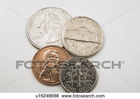 US coins on a white background, Studio Composition Stock Photo