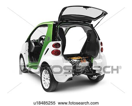 2017 Smart Fortwo Electric Drive Open From Behind Showing The Battery And Motor Isolated On White Background