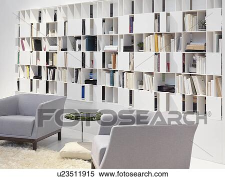 Mur, bibliothèque, maison, bibliothèque, contemporain, conception intérieur  Banques de Photographies