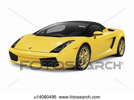 Amarela, 2006, Lamborghini, Gallardo, Spyder, Supercar, Carro Esportes,  Isolado, Branco, Fundo