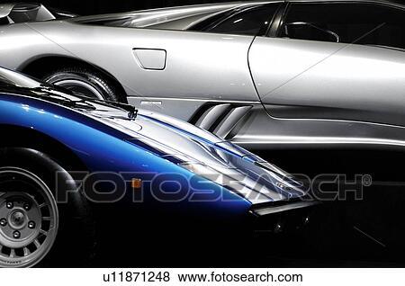 Blue Lamborghini Countach And Silver Lamborghini Diablo Super Cars
