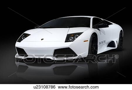 White Lamborghini Murcielago Lp640 Coupe Super Car Isolated On Black
