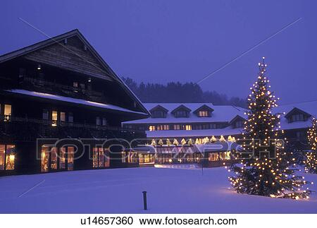 stock photography of lodge resort inn trapp family lodge christmas x mas xmas winter vermont the snow covered trapp family lodge is decorated with - The Christmas Lodge