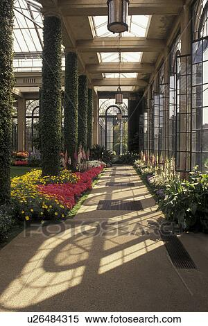 Stock Image Of Longwood Gardens, Conservatory, Brandywine River Valley,  Kennett Square, Pennsylvania, Passageway Of Tall Glass Windows Through The  Gardens ...