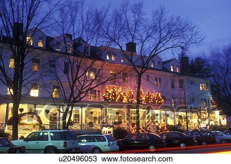 Stock Photo - Stockbridge, Inn, Berkshires, Massachusetts, Christmas lights decorate the Red