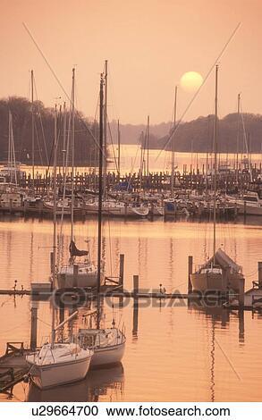 sunset, sunrise, marina, Georgetown, Maryland, Sunset over the marina on  Sassatras River in Chesapeake Bay in Georgetown in Maryland  Stock Image