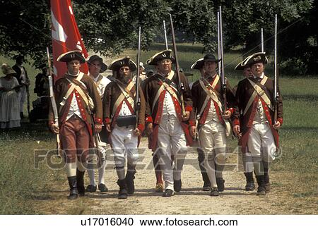 Valley Forge Park, soldiers, reenactment, Valley Forge, Pennsylvania, Men  dressed in Continental Army soldier costumes march together in formation at