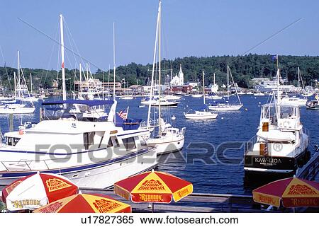 boats, Boothbay Harbor, Maine, ME, Scenic view of Boothbay Harbor  Stock  Photography