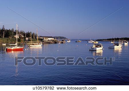 boats, Maine, ME, Corea, Scenic harbor in the fishing village of Corea   Stock Photo