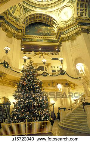 Harrisburg, PA, State Capitol, State House, Pennsylvania, A beautiful  Christmas tree decorates The Capitol Rotunda inside The Pennsylvania State