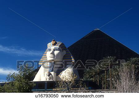 Stock Photography Of Luxor Las Vegas Nv Pyramid Sphinx Nevada The Strip Giant And Shaped Hotel At