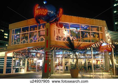 Restaurant Inner Harbor Baltimore Md Maryland Planet Hollywood Illuminated At Night In S