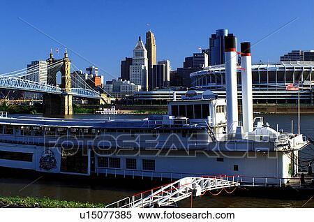 Stock Image Of Riverboat Cincinnati Oh Ohio Downtown Skyline