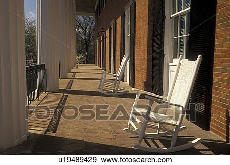 stock photograph of atlanta georgia ga rocking chairs on the
