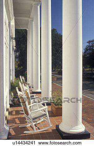Column, Country Inn, Aiken, SC, South Carolina, Columns And Rocking Chairs  On The Front Porch Of The Wilcox Inn In Aiken.