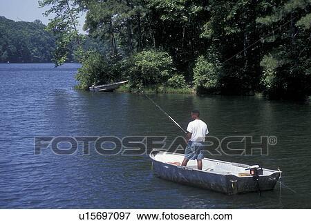 Fishing Lake Stone Mountain Park Ga Atlanta Georgia Black Man