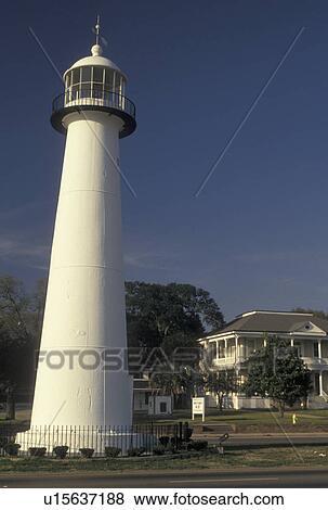 Lighthouse Biloxi Mississippi Ms The 1847 Old Biloxi Lighthouse In Biloxi Stock Photo U15637188 Fotosearch