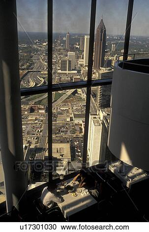 Restaurant Aerial View Atlanta Ga Georgia People Dining At The Top Of Westin Peachtree Plaza Hotel Restaurant With A Scenic Aerial View Of